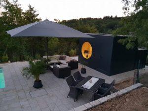 Garten Kubus - Design Gartenhaus abends