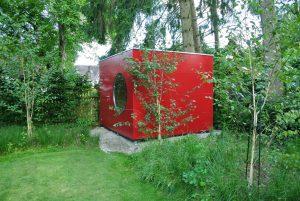 Garten Kubus - Flachdach Gartenhaus rot